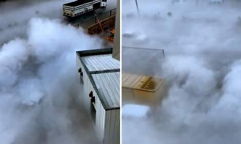 Hastanenin boşaltılan sıvı oksijen tankından çıkan duman korkuttu