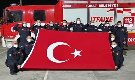 Tokat'ta itfaiye ekiplerinden 'Eren-2 Lice' operasyonuna destek